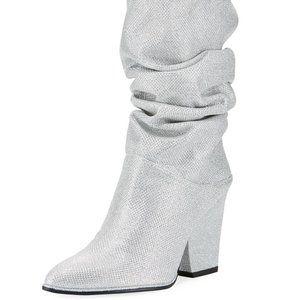 Stuart Weitzman Silver Slouch Crush Boots 6.5